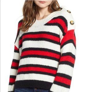 BP. button shoulder stripe sweater women's medium